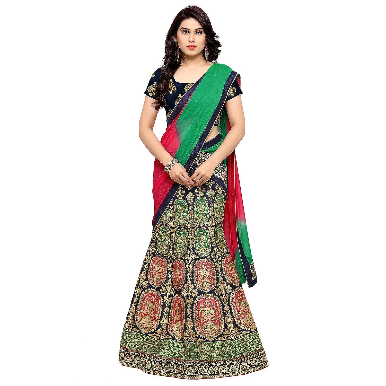 Styles Closet Women's Jacquard Long Lehenga Choli (BND-7090_Blue_Free Size)