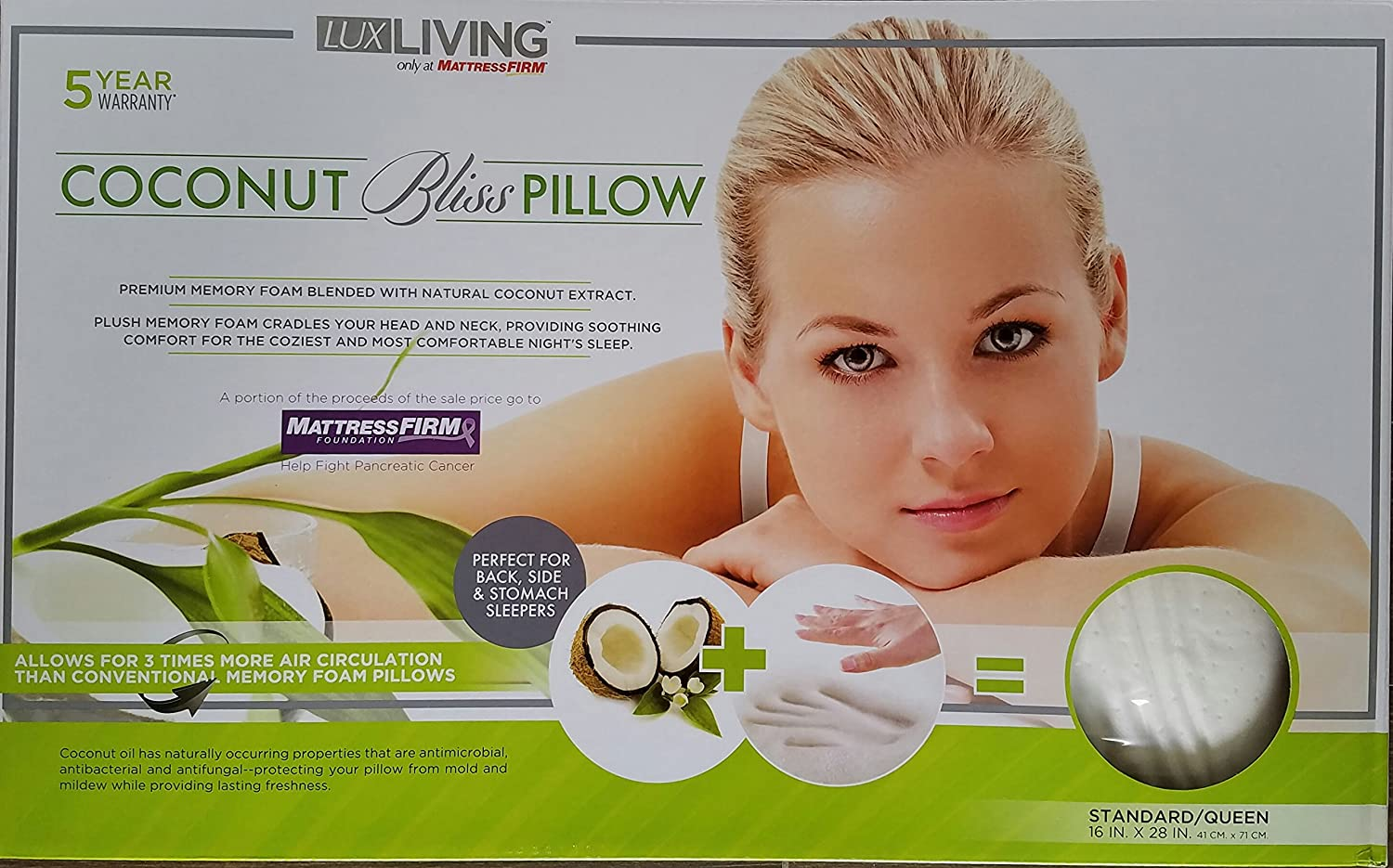 Amazoncom Lux Living Coconut Bliss Pillow Home Kitchen