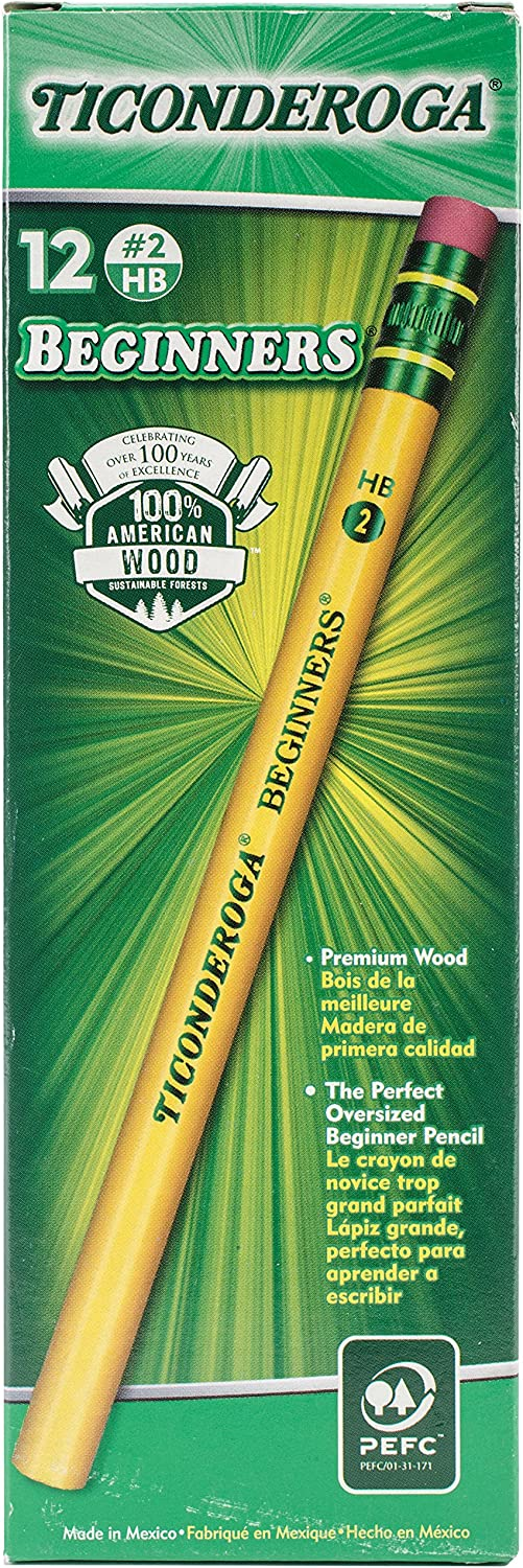 Ticonderoga Beginner Pencils, Wood-Cased #2 HB Soft, With Eraser, Yellow, 12-Pack (13308) : Wood Lead Pencils : Office Products