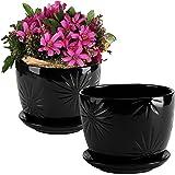 MyGift Set of 2 Black Starburst Design Ceramic Flower Planter Pots/Decorative Plant Containers with Saucers