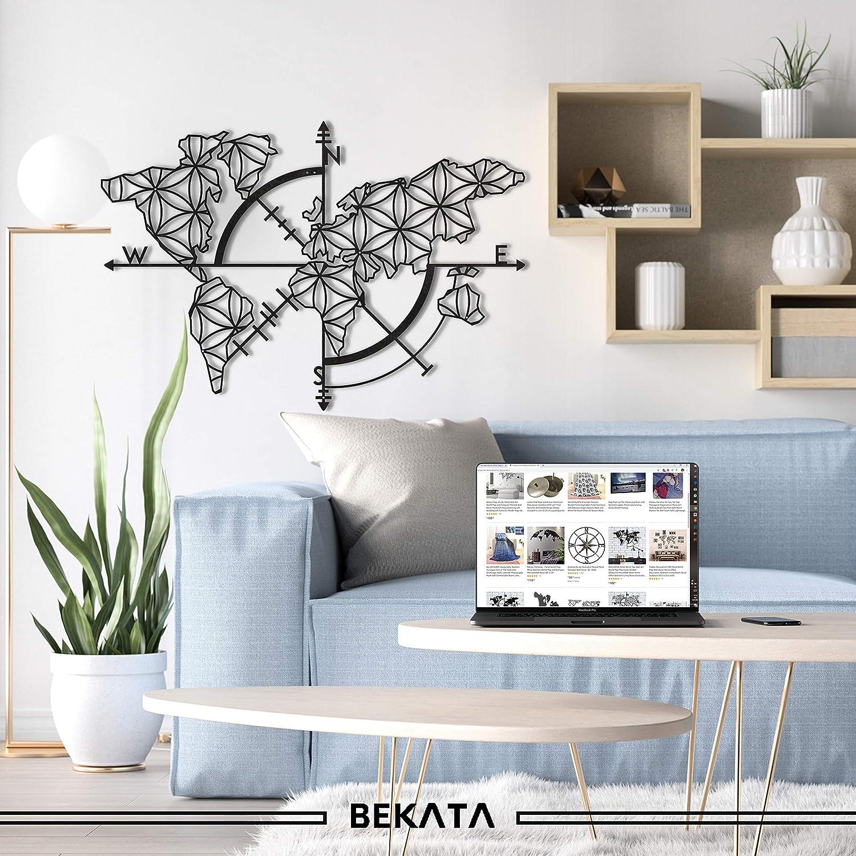 Bekata Colección de arte de pared de metal para sala de estar, mapa del mundo y brújula, decoración de pared, regalo de inauguración de la casa, regalo de boda, carte Du Monde