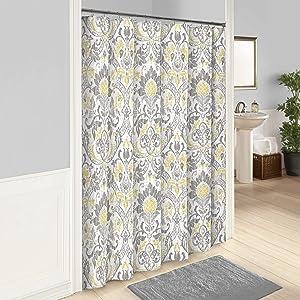 MISC Yellow Grey Damask Shower Curtain White Long Gray Geometrical Bathroom Curtains Paisley Floral Design Home Bath Decor Golden, Cotton