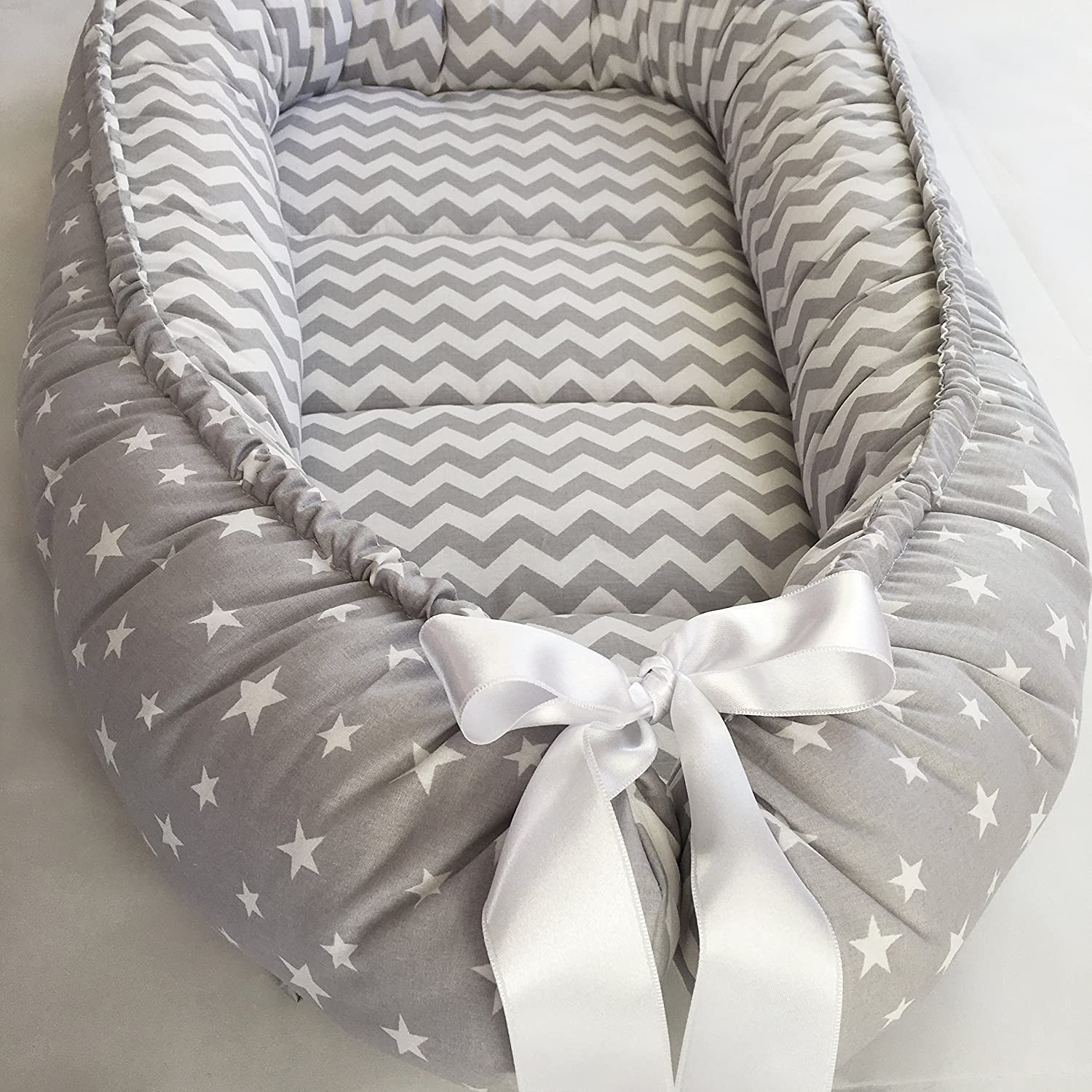 Baby Nest Bed, Gray Babynest, Organic Cotton, Baby Boy, Baby Girl, Newborn Travel Bed, Baby Snuggle Nest Bed, Double-Sided Baby Lounger BabyNestBed
