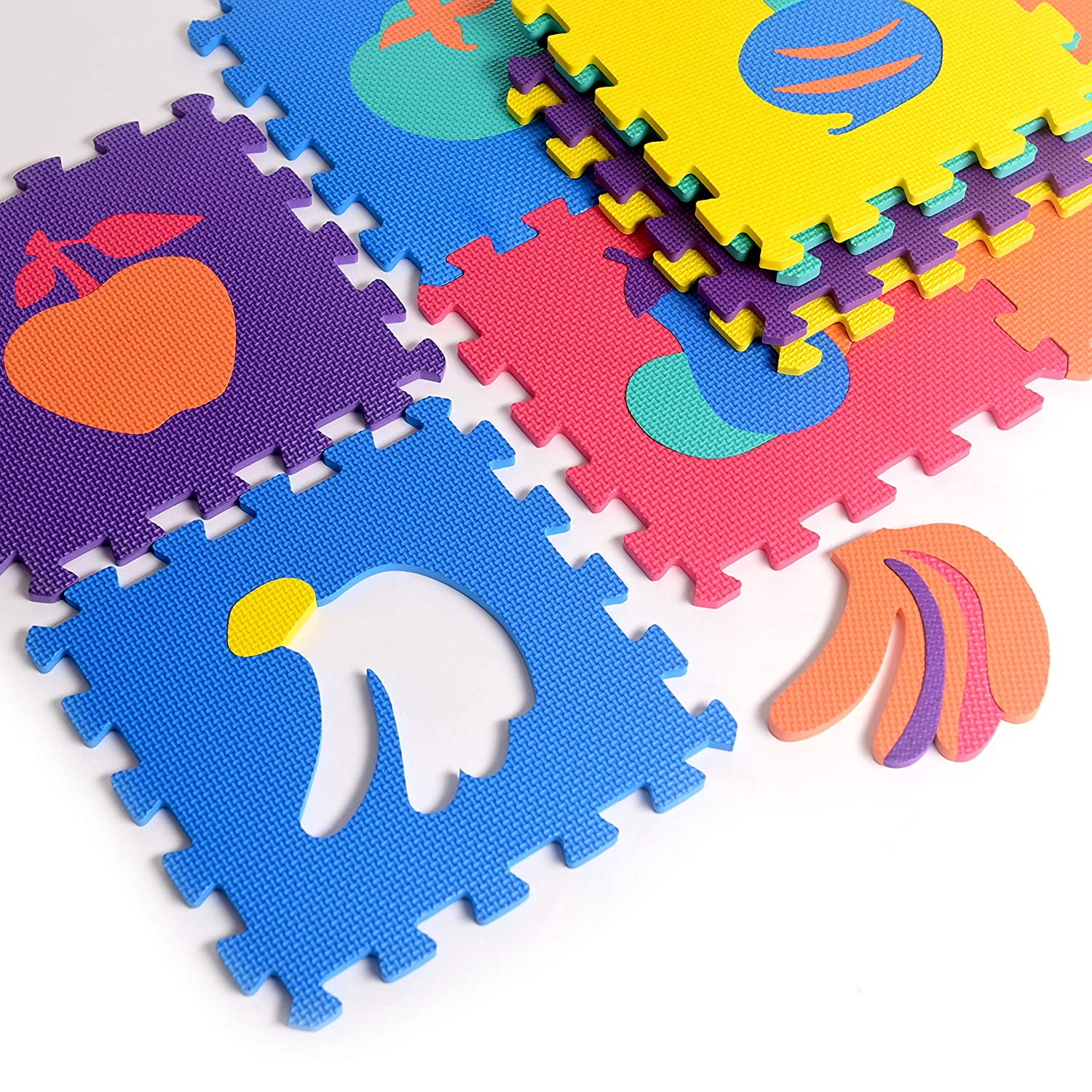 Fruit Rubber EVA Foam Puzzle Play Mat Floor. 10 Interlocking playmat Tiles Tile 12X12 Inch 36 Sq.Feet Coverage . Ideal Crawling Baby Infant Classroom Toddlers Kids Gym Workout