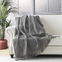Thick Chunky Grey Knitted Throw Blanket for Couch Chair Sofa Bed, Chic Boho Style Textured Basket Weave Pattern Blanket…