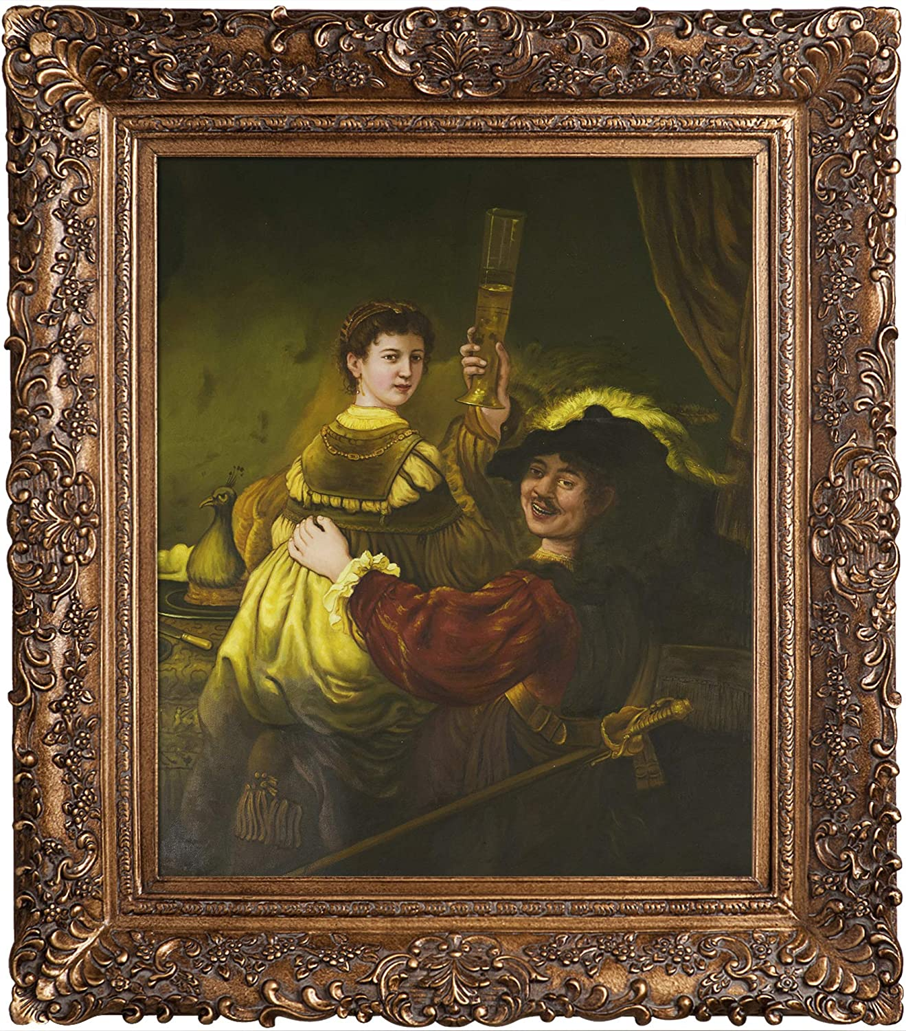 overstockArt Rembrandt and Saskia in The Parable of The Prodigal Son Framed Oil Reproduction of an Original Painting by Rembrandt, Burgeon Frame, Organic Pattern Facade with Gold Finish