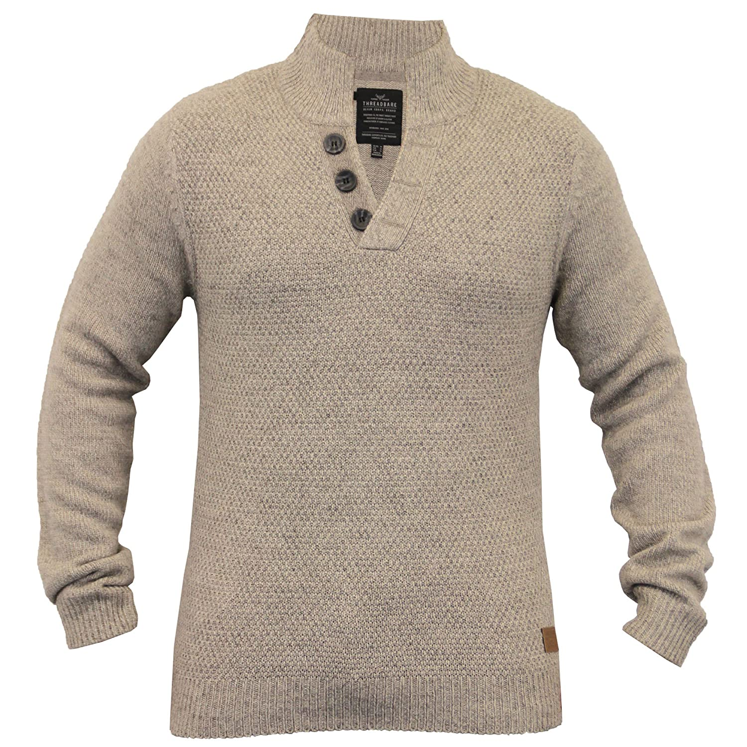 Mens Wool Mix Jumpers Threadbare Knitted Sweater Pullover Waffle Top Winter New