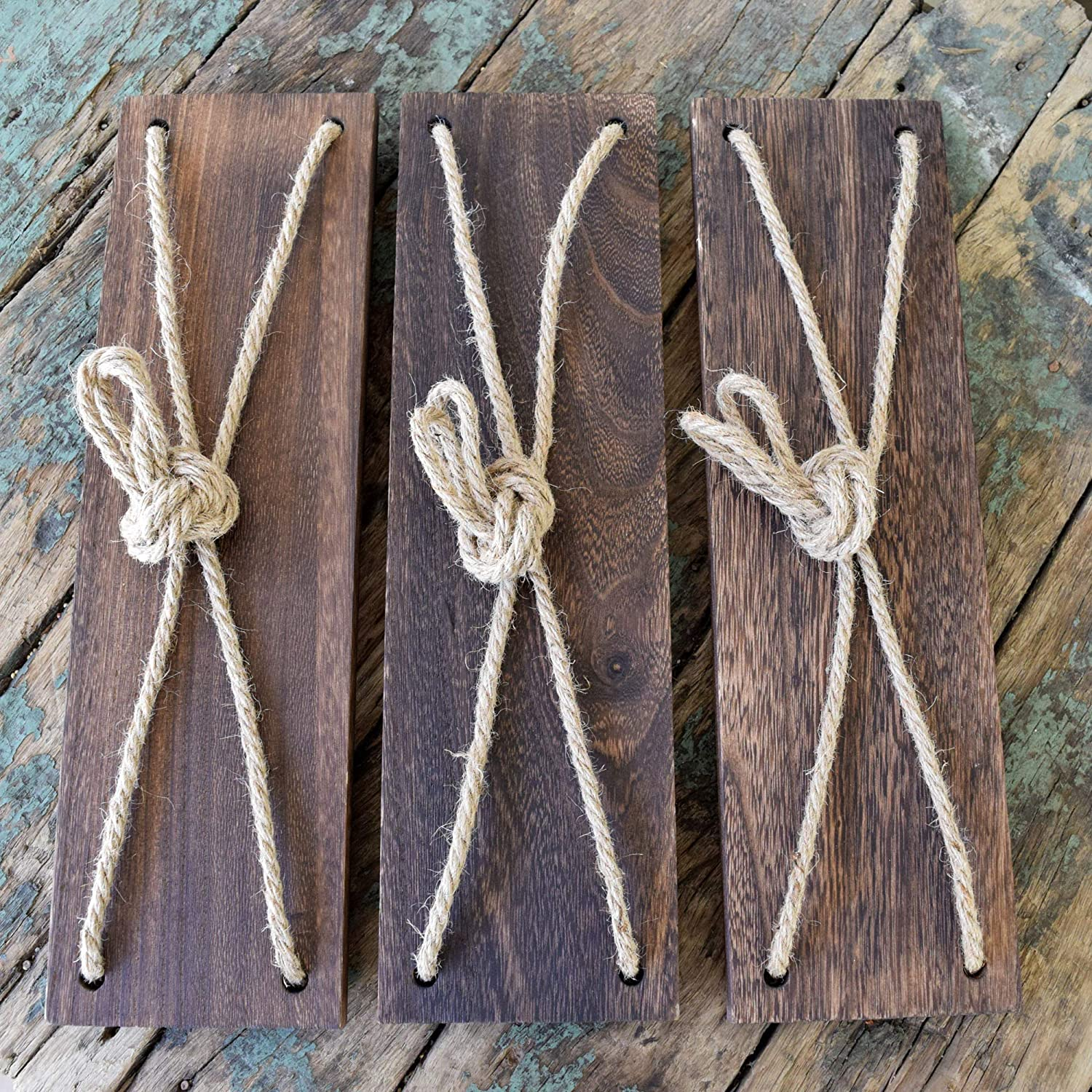 Set of 3 Happy Magnolia 17 Reclaimed Wood Hanging Swing Rope Floating Shelves Rustic Wall Decor