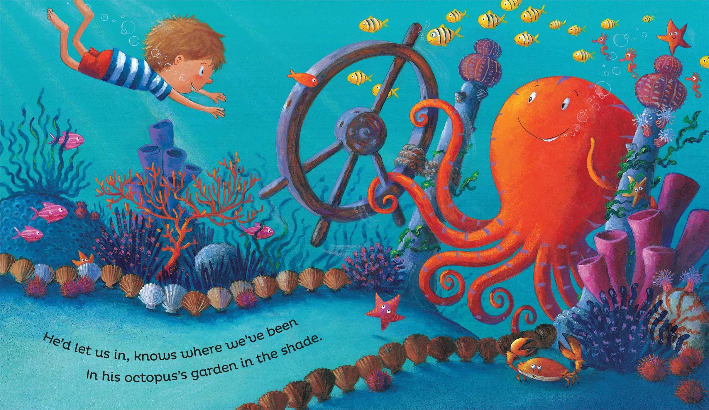 "A page from ""Octopus's Garden"" depicting an boy swimming through the ocean with the words ""he'd let us in, know where we've been/in his octopus's garden in the shade"""