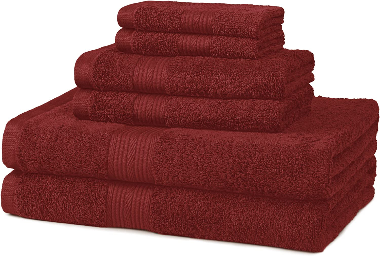 AmazonBasics 6-Piece Fade-Resistant Bath Towel Set - Crimson Red