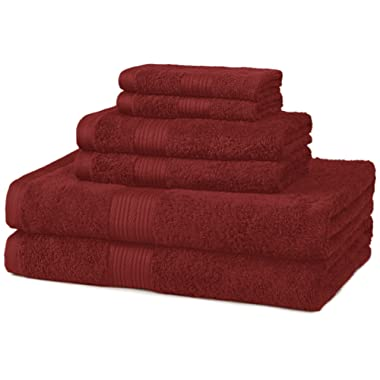 AmazonBasics Fade-Resistant Towel Set, 6-Piece, Crimson