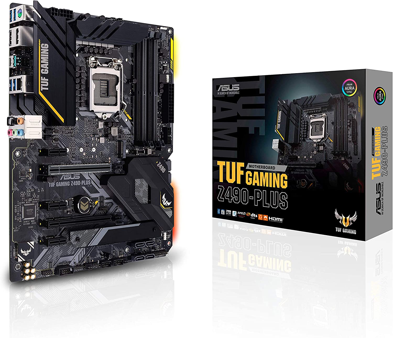ASUS TUF Gaming Z490-Plus, LGA 1200 (Intel 10th Gen) ATX Motherboard (12+2 Power Stages, USB 3.2 Front Panel Type-C, 1Gb LAN, Addressable Gen 2 RGB Header & Aura Sync)