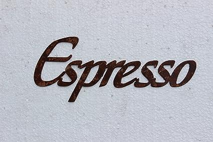 Espresso Word Kitchen Art Antique Copper Metal Wall Art Decor
