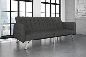 Surprising Dhp Emily Convertible Futon And Sofa Sleeper Modern Style With Tufted Cushion Arm Rests And Chrome Legs Quickly Converts Into A Bed Grey Linen Short Links Chair Design For Home Short Linksinfo