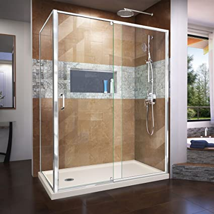 DreamLine Flex 36 in. D x 60 in. W Semi-Frameless Pivot Shower ...