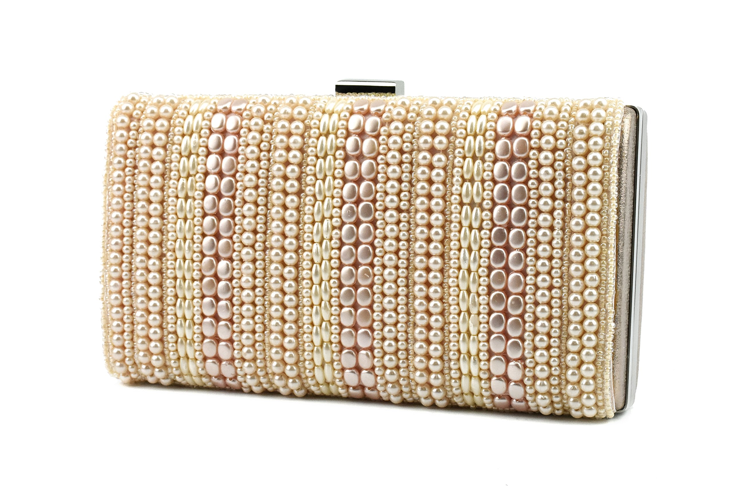 Ruiatoo Multicolor Purse Evening Clutch for Women Handbag Party Beaded Satchel Tote Champagne
