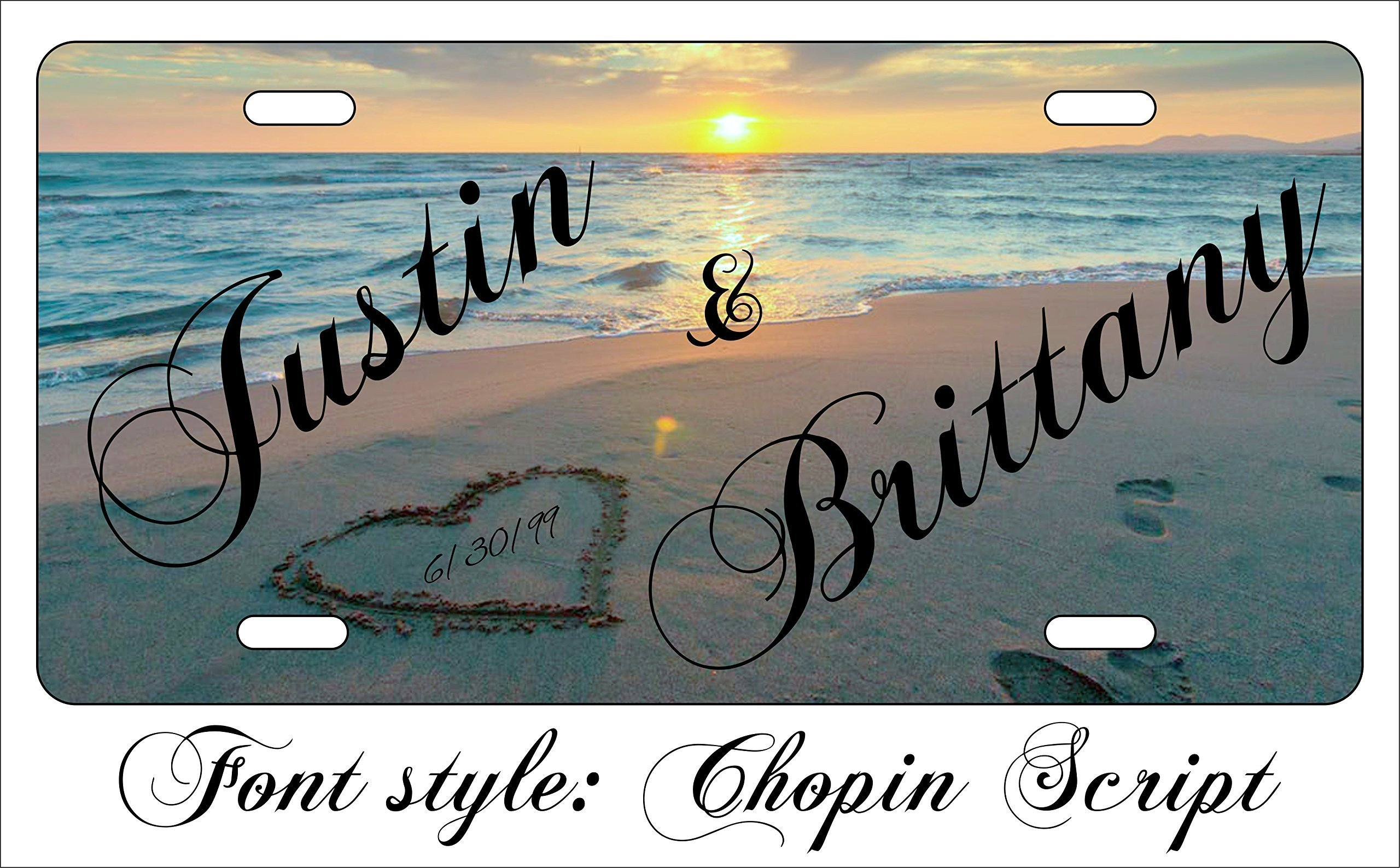 Personalized Custom License Plate with a Heart drawn in the sand on the beach with the sun setting Metal US Seller