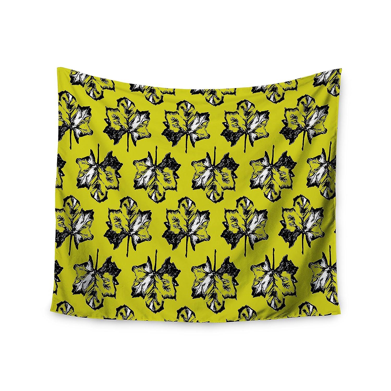 Kess InHouse Julia Grifol Green Tree Leaves Yellow Wall Tapestry 68 X 80