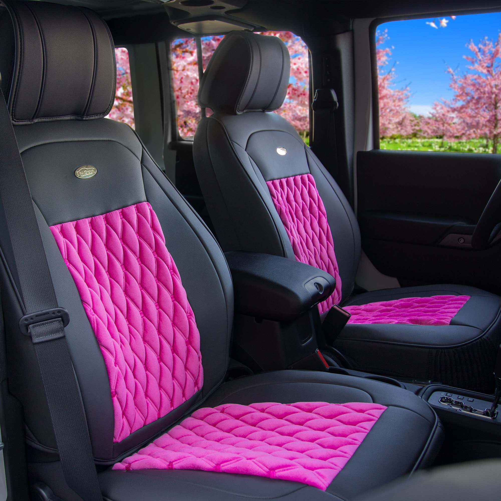 FH Group Pink/Black PU204PINKBLACK102 Victorian Style Luxurious Leatherette Cushion Pad Seat Covers-Fit Most Car, Truck, SUV, or Van