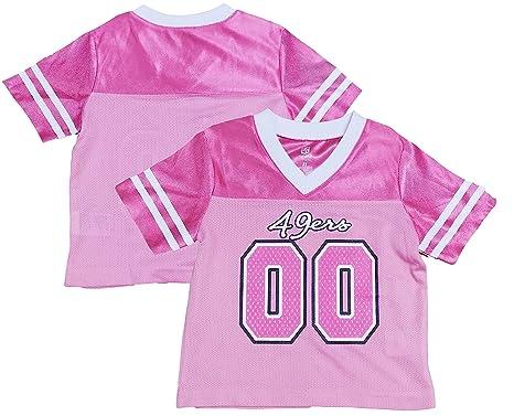 4cb3c9e0b San Francisco 49ers Logo  00 White Dazzle Girls Toddler Jersey (Toddler 2T)