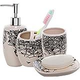 4 Piece Beige Ceramic Bathroom Accessories Set / Toothbrush Holder, Lotion Dispenser, Soap Dish & Tumbler