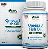 Omega 3 Fish Oil 1000mg 365 Softgels 1 Year Supply | Pure Fish Oil with Balanced EPA & DHA | Contaminant Free with Omega 3 | Made in the UK by Nu U Nutrition
