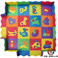 Baby Play Mat with Fence - 36 Colorful Animal Puzzles - Interlocking Safety Foam Tiles - 57x57 Inches for Crawling, Floor Play, Tummy Time