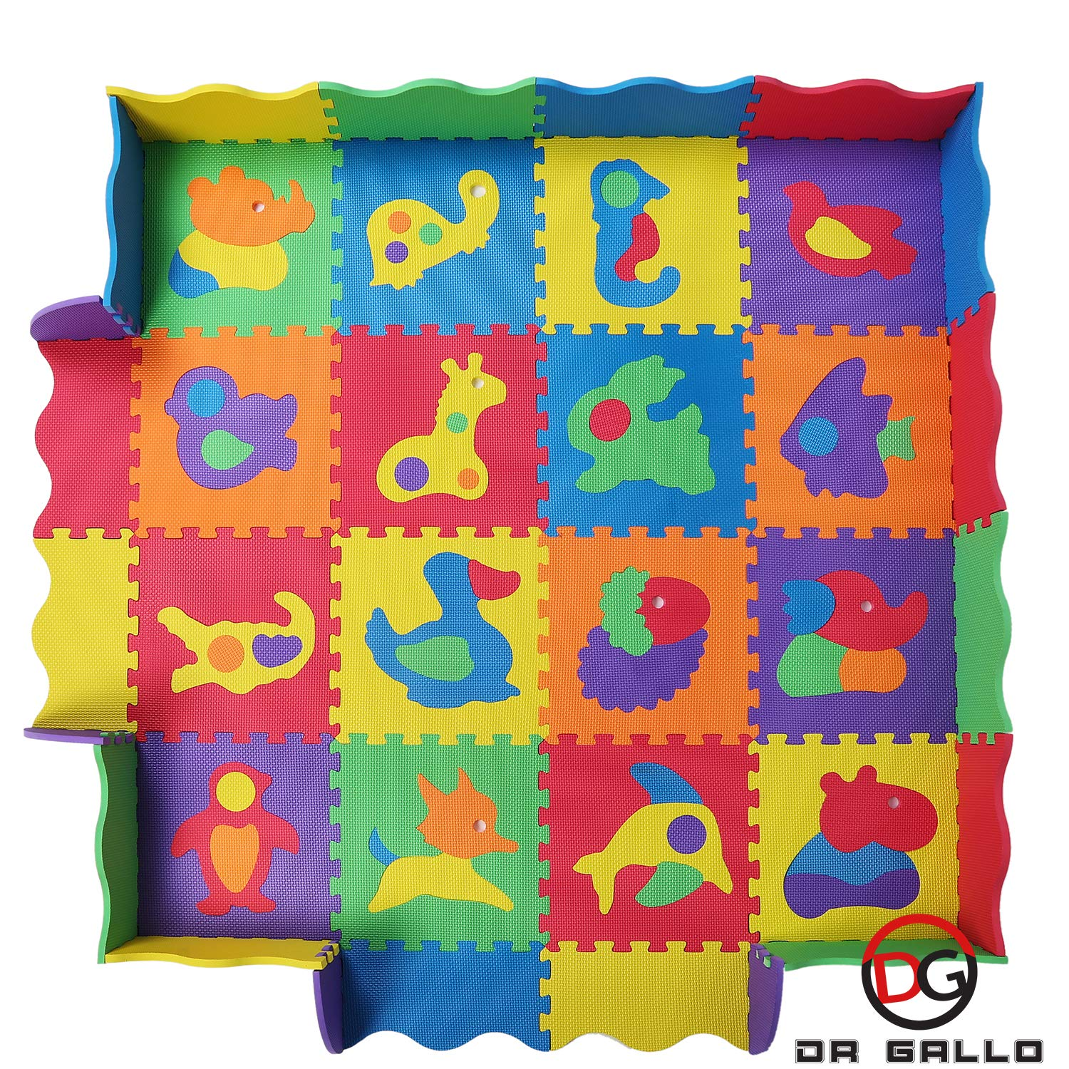 Baby Play Mat with Fence - 36 Colorful Animal Puzzles - Interlocking Safety Foam Tiles - 57x57 Inches for Crawling, Floor Play, Tummy Time dr-gallo