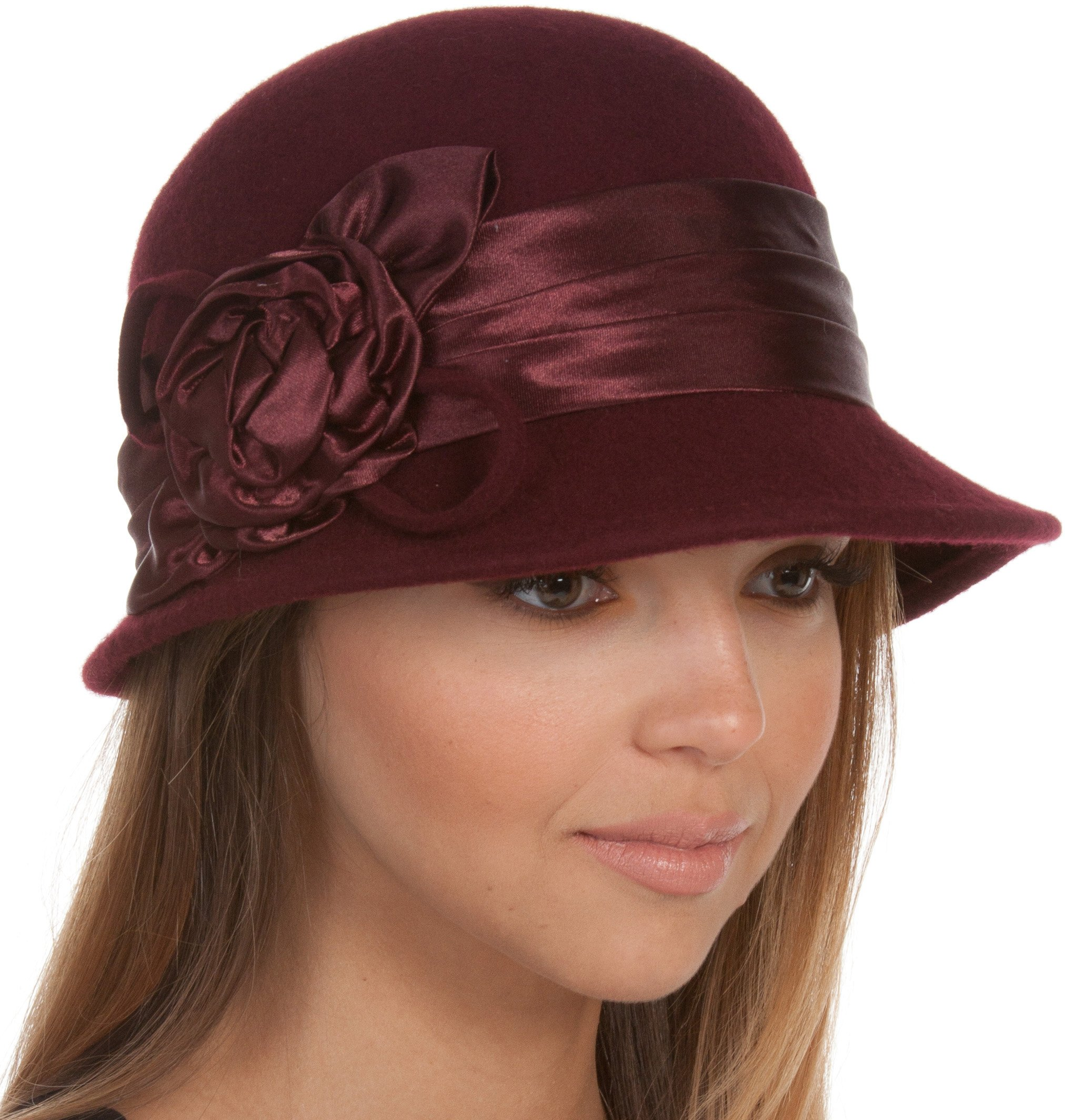 EH1121LC - Womens Vintage Style 100% Wool Cloche Bucket Winter Hat with Satin Flower Accent ( 6 Colors ) - Burgandy/One Size by Sakkas