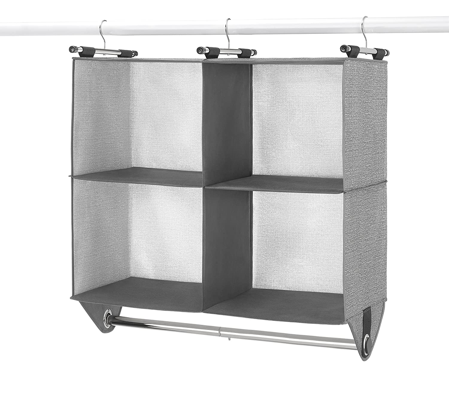 4 Section Fabric Closet Organizer Shelving with Built In Chrome Garment Rod