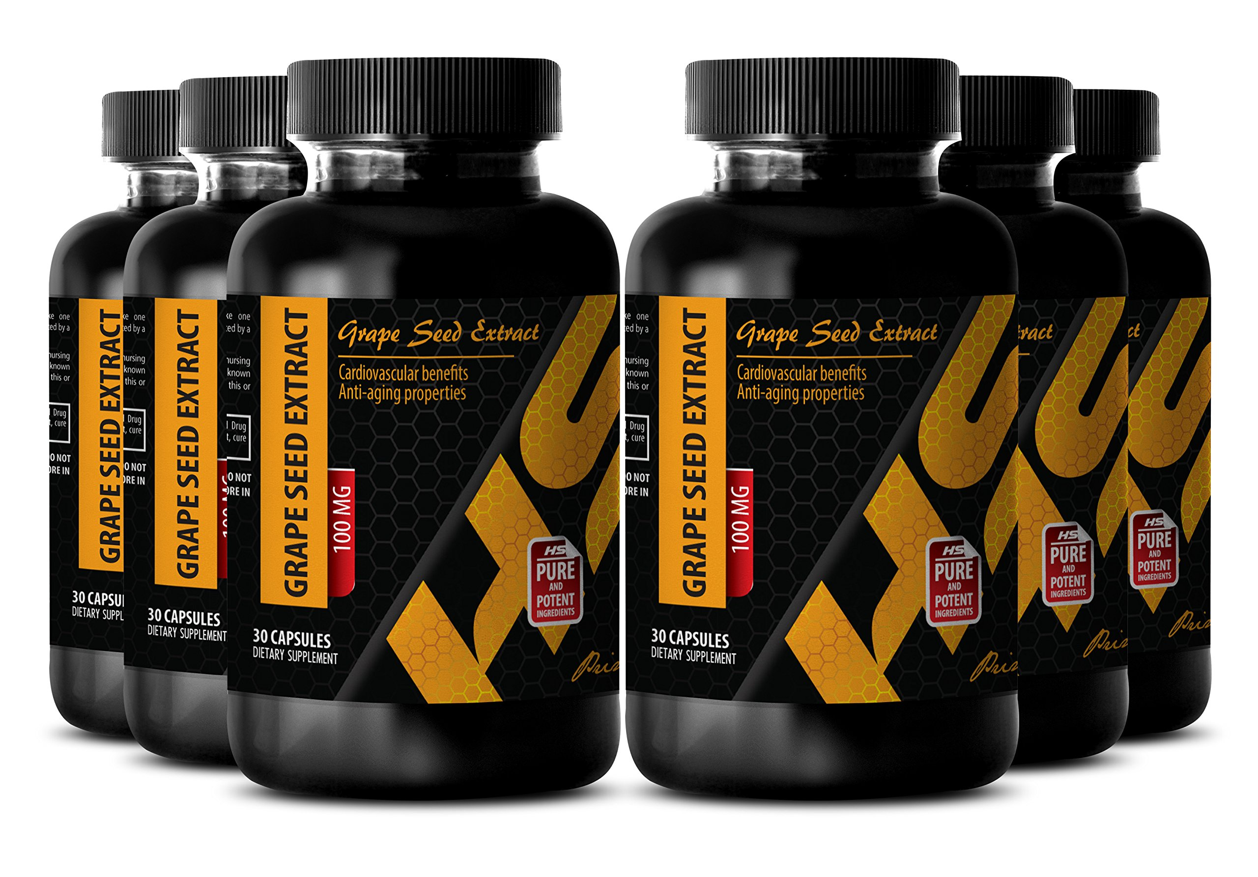Blood vessels health - PURE GRAPE SEED EXTRACT 100 Mg - Grape seed antifungal supplements - 6 Bottles - 180 Capsules