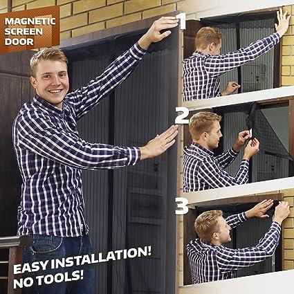 Magnetic Screen Door Mesh Curtain Fly Screen Doors French Door