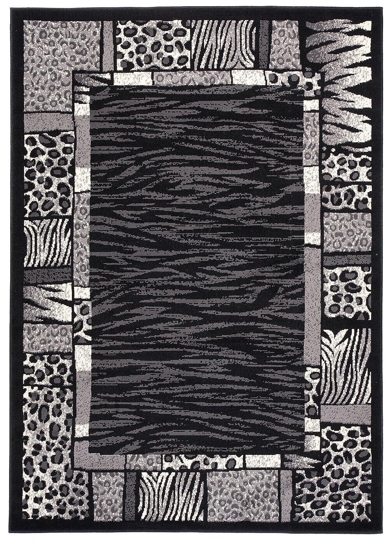 Tapiso Dream Teppich Kurzflor Grau Schwarz Creme Modern Meliert Africa Jaguar Zebra Tiermotiv Muster Bordüre Designer Wohnzimmer ÖKOTEX 220 x 300 cm