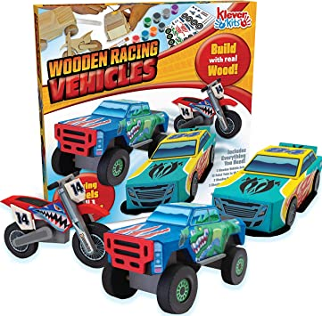 Make Your Own Car >> Joyin Klever Kits Kids Craft Kit Build Paint Your Own Wooden Race Car Art Craft Kit Diy Toy Make Your Own Car Truck Toy Construct And Paint Craft