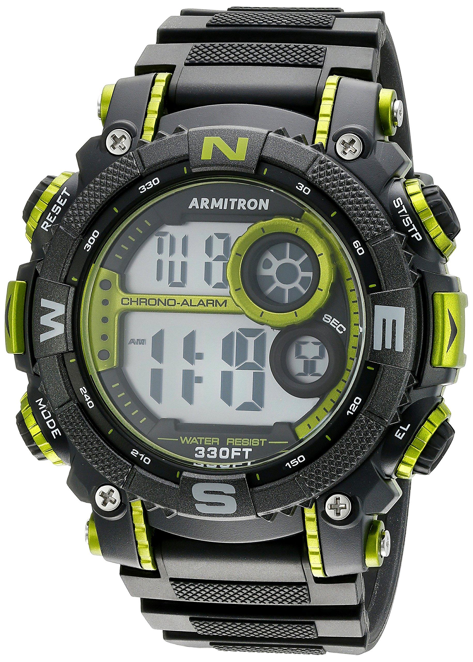 Armitron Men's 40/8284LGN Lime Green Accented Digital Chronograph Black Resin Strap Watch by Armitron Sport