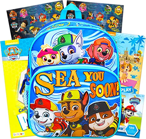 Paw Patrol Toddler Preschool Backpack 10 Inch Mini Backpack Bundle With Coloring Book Board Book And Paw Patrol Stickers Paw Patrol School