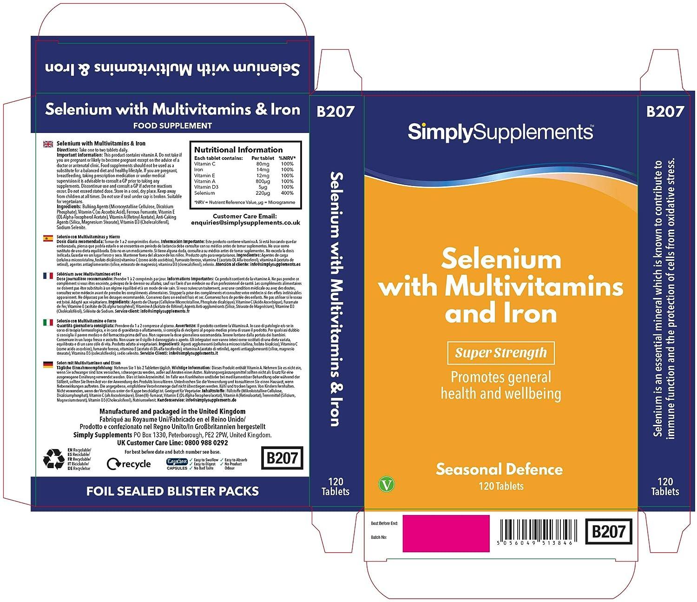 Selenio 200 mcg con Multivitaminas y Hierro - 120 comprimidos - Hasta 4 meses de suministro - Refuerza la función de la tiroides - SimplySupplements: ...