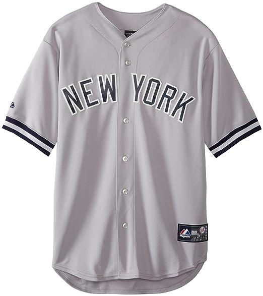 09f81b4d9 MLB Men s New York Yankees Derek Jeter Road Gray Short Sleeve 6 Button  Synthetic Replica Baseball