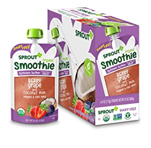 Sprout Organic Toddler Smoothie, Dairy Free Berry Grape, 4 Oz, Pack of 12