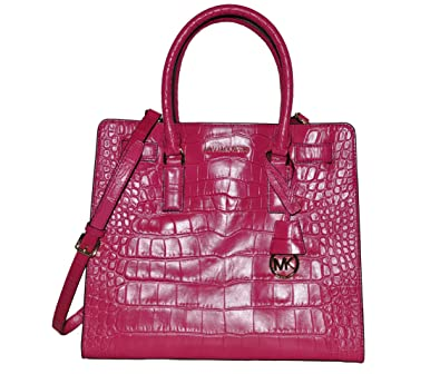 d433125245c6a4 Michael Kors Dillon Large North South Tote in Raspberry Embossed Leather:  Handbags: Amazon.com