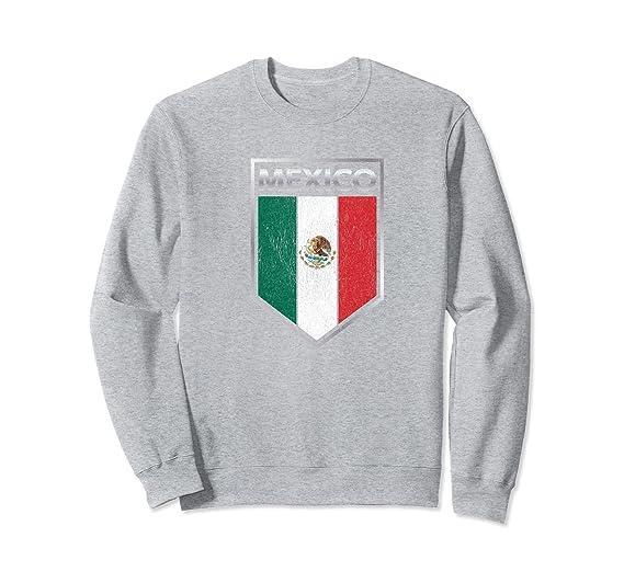 Amazon.com: Latino Pride - Vintage Mexican Flag Shield Sweatshirt: Clothing