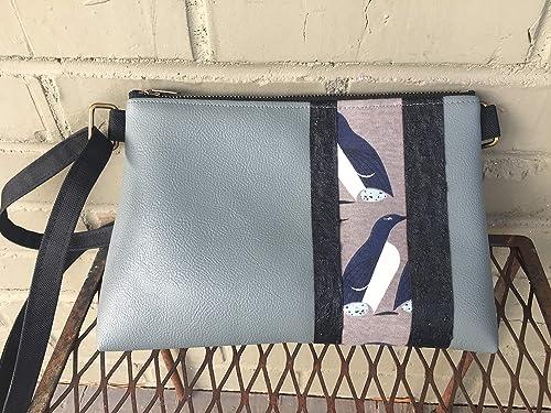 Charley Harper Green Jay Fabric Front Zipper Pocket Crossbody Bag Charley Harper Bag Navy Blue Vegan Leather Bag