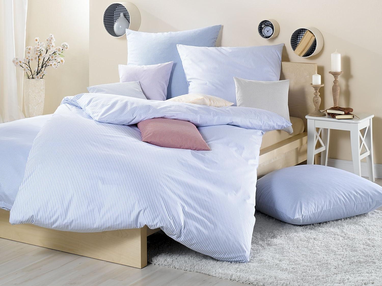 Lorena Textil Basel Maco-Batist Bettwäsche Baumwolle (rosa, 155 cm x 220 cm + 80 cm x 80 cm Kissen) Vichykaro