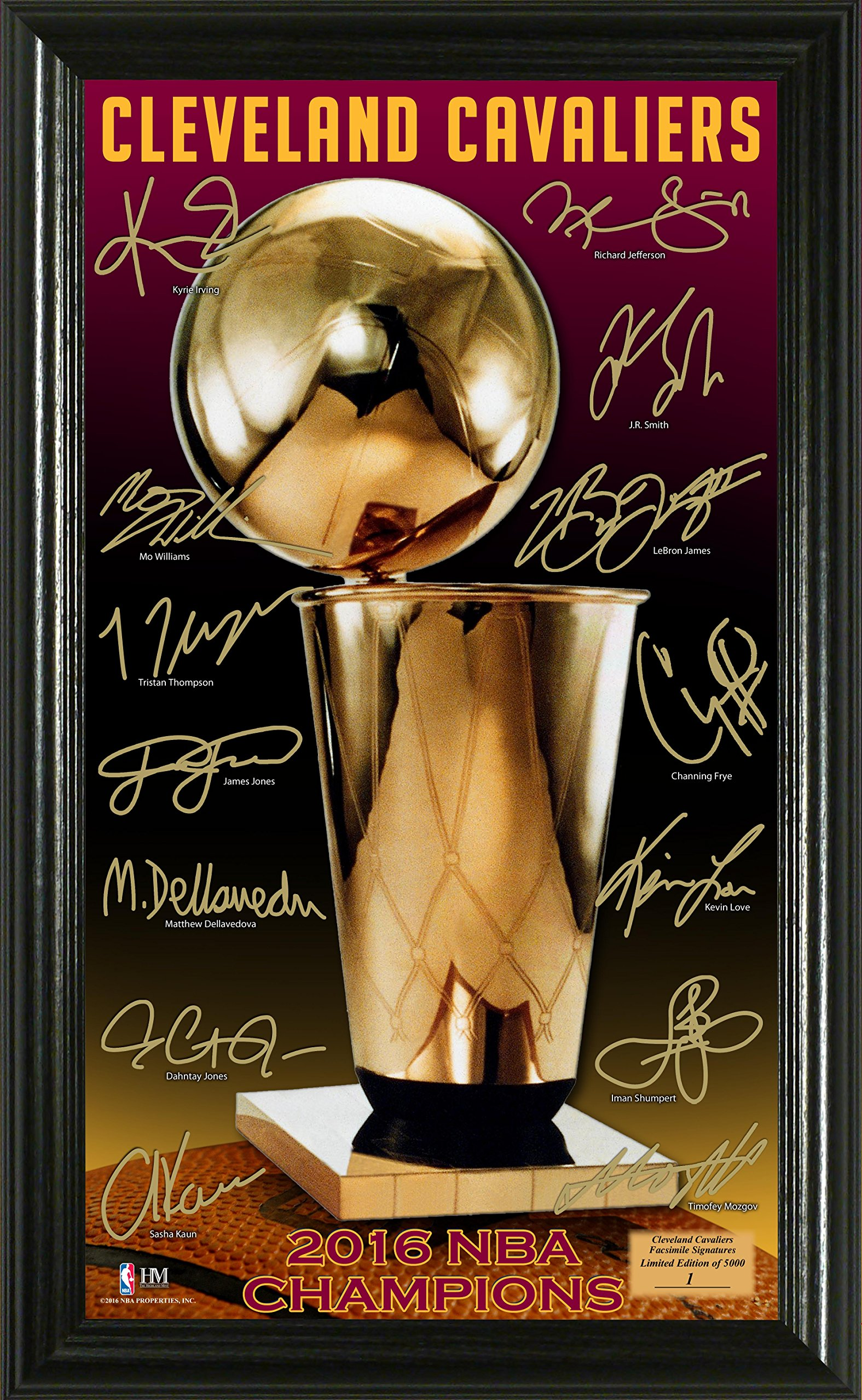 NBA Cleveland Cavaliers 2016 Finals Champions ''Trophy'' Signature Photo, 17'' x 14'' x 3'', Bronze