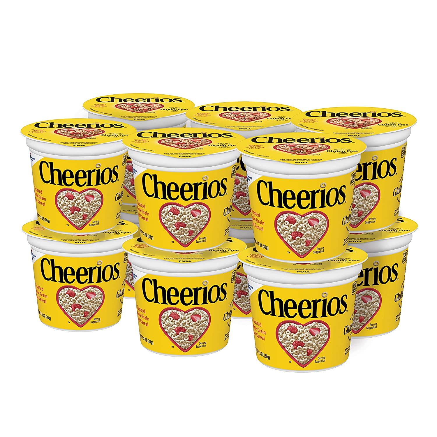 Cheerios Breakfast Cereal Cup, Toasted Whole Grain Oat Cereal, 1.3 oz Cup (Pack of 12)
