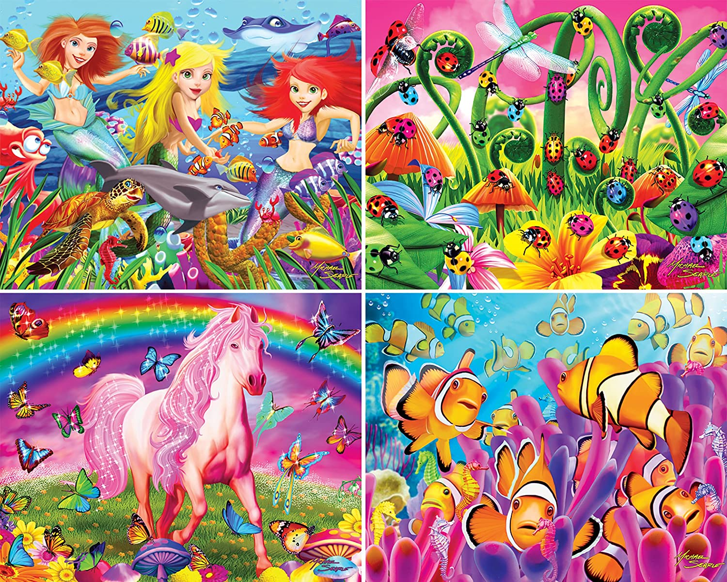 500 Pieces 4-Pack MasterPieces Multi Pack Jigsaw Puzzle Farm /& Country
