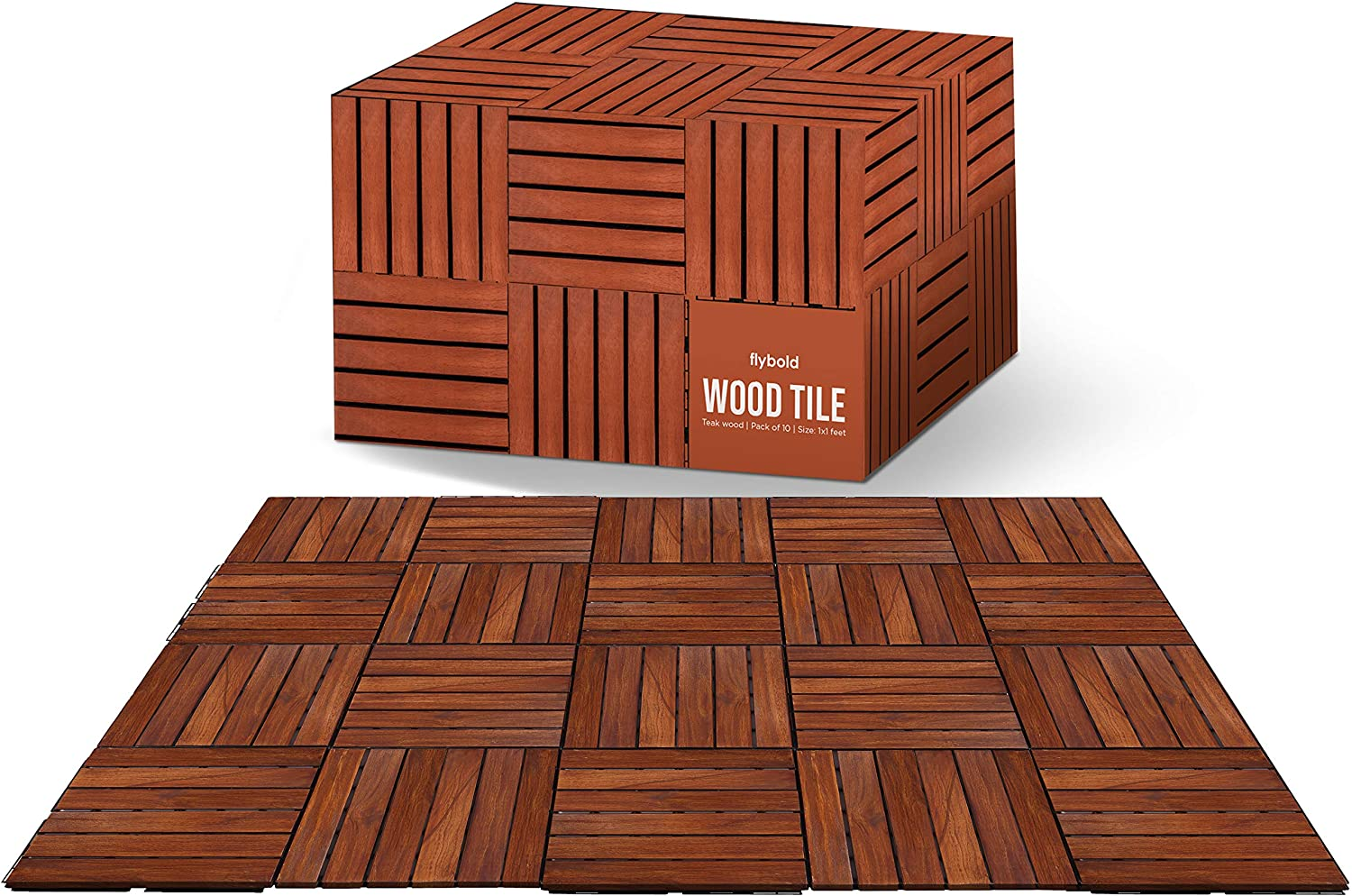 "Wood Interlocking Floor Tiles Solid Teak Wood Flooring Tile with UV Protection Oiled Finish Snap Lock for Outdoor Indoor Decor Patio Deck Shower Balcony Dance Floors Pack of 10 Pieces 12"" x 12"""