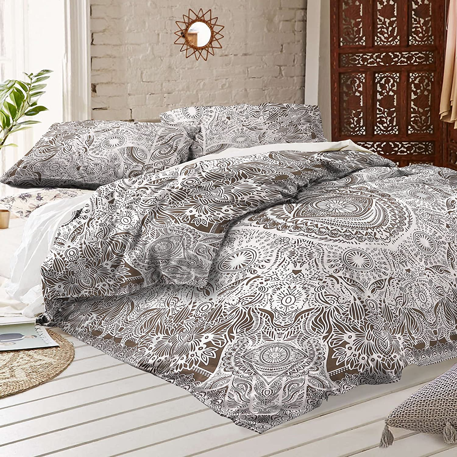 Amazon Bohemian Cotton Doona Duvet Cover With 2 Pillowcases By