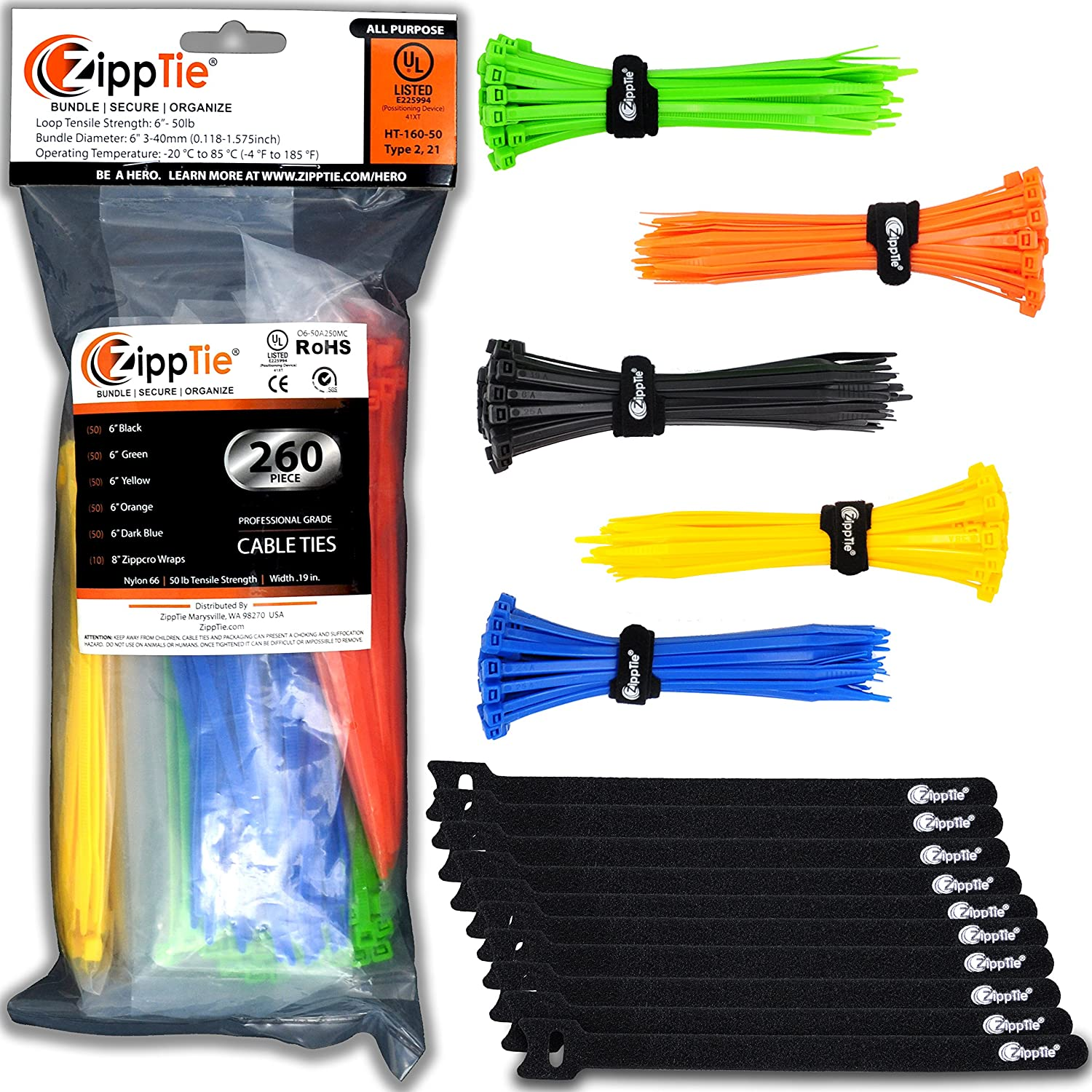Colored Cable Ties by ZippTie | 260ct 6 inch Multi colored Cable Management Kit Heavy Duty 50lb Zip Ties | Includes 10 Reusable ZippCro Wraps