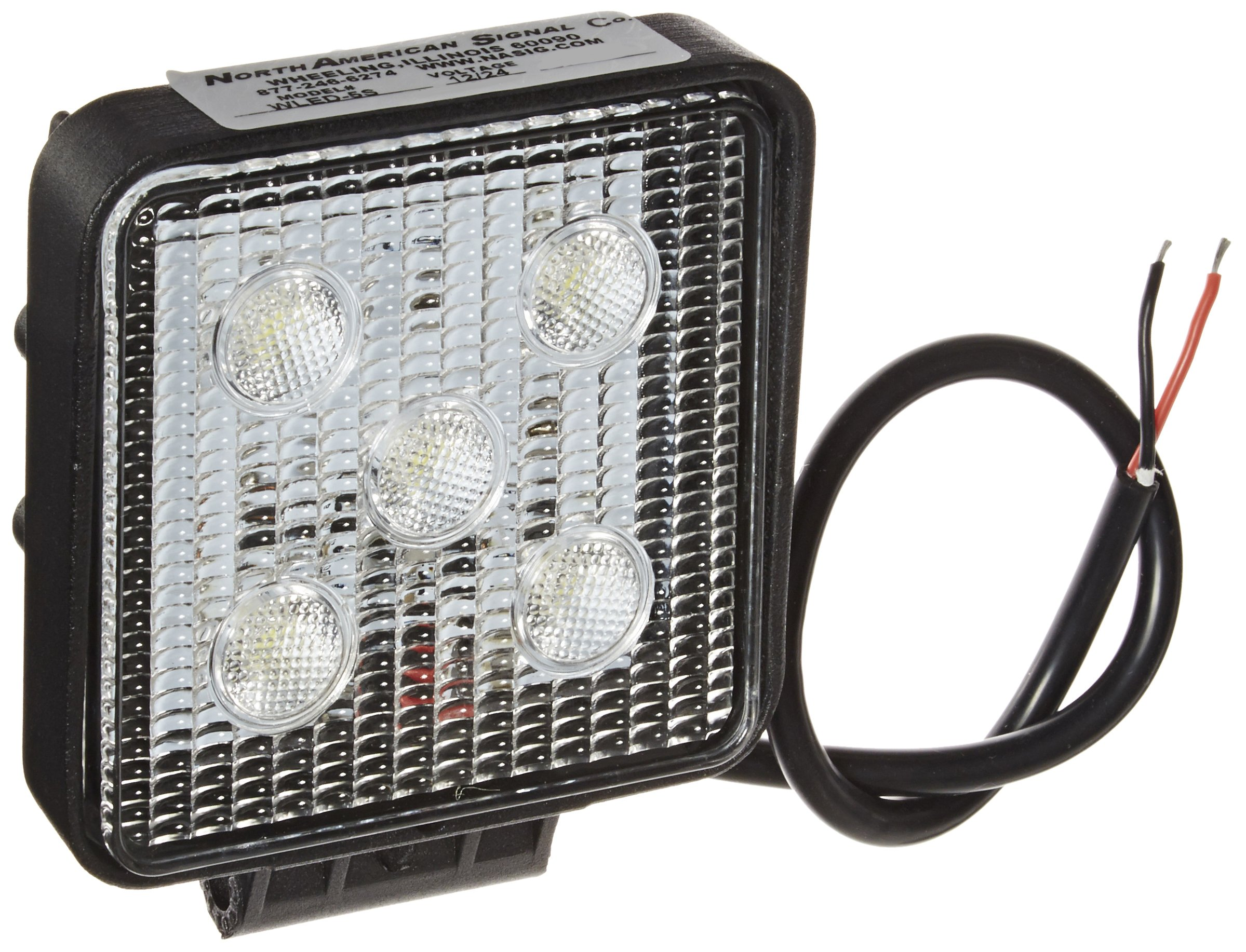North American Signal WLED-5S Square LED Economy Work Light, Aluminum, 1200 Lumens, 12/24V